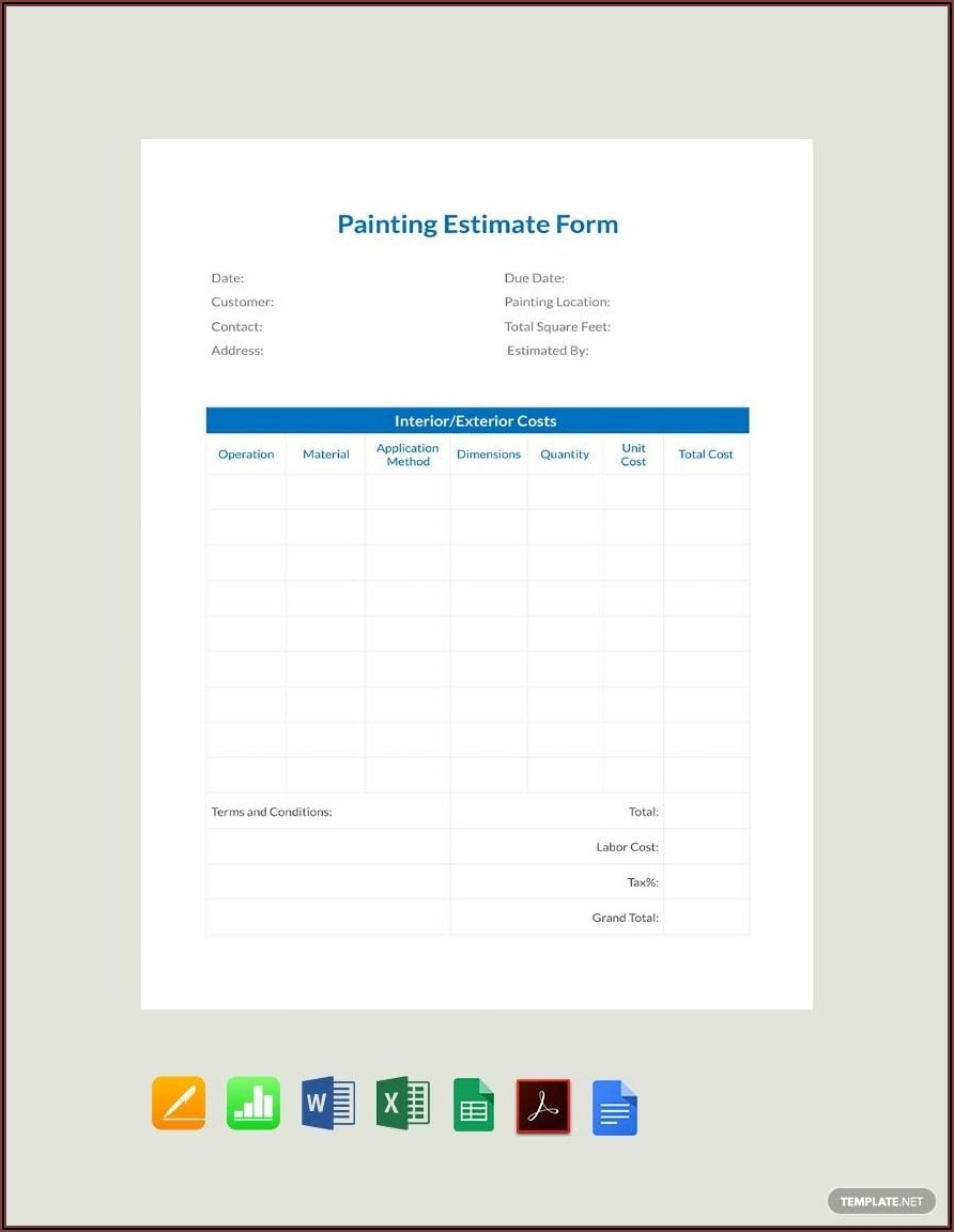 Painting Estimate Template Excel