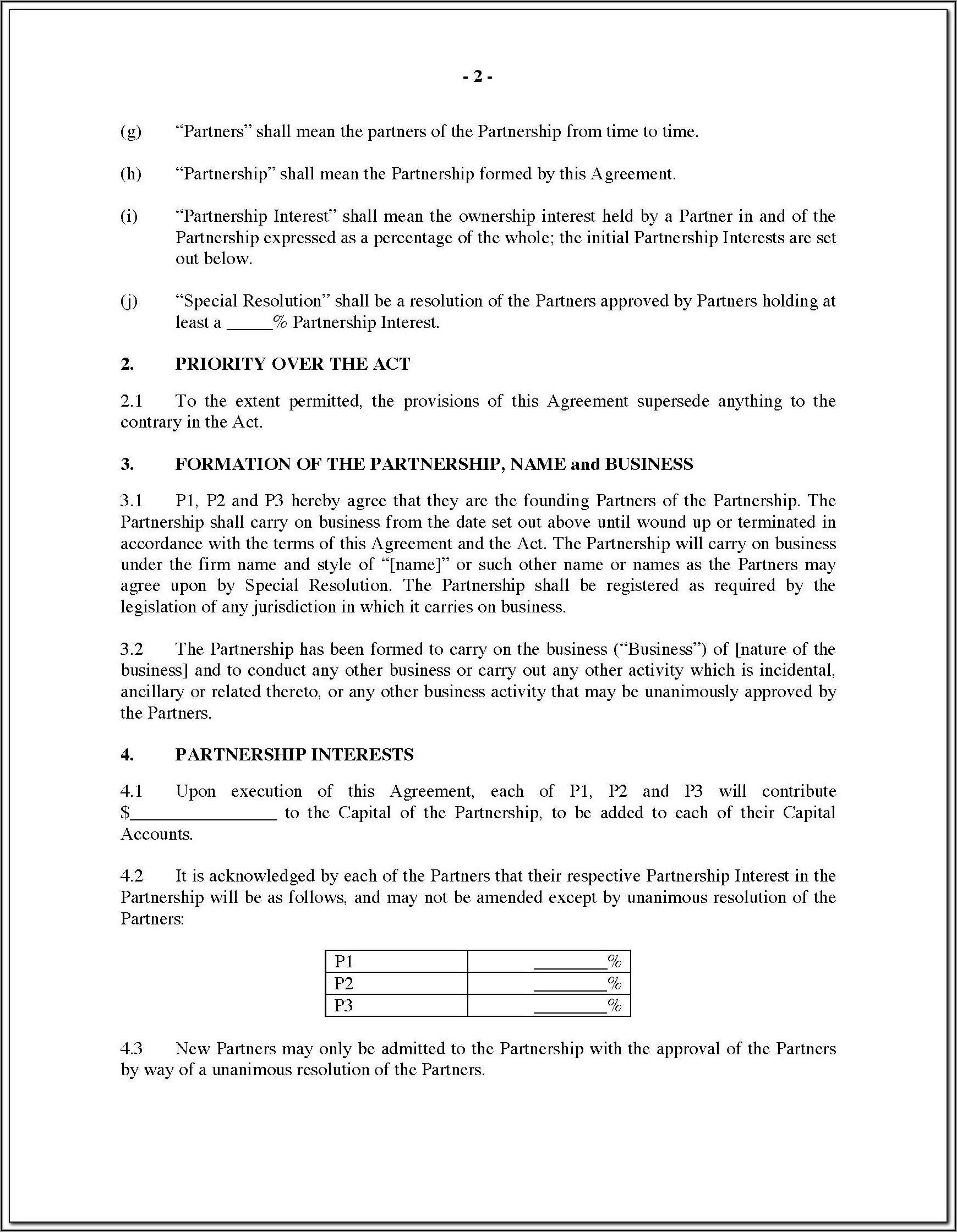 Partner Agreement Template Canada