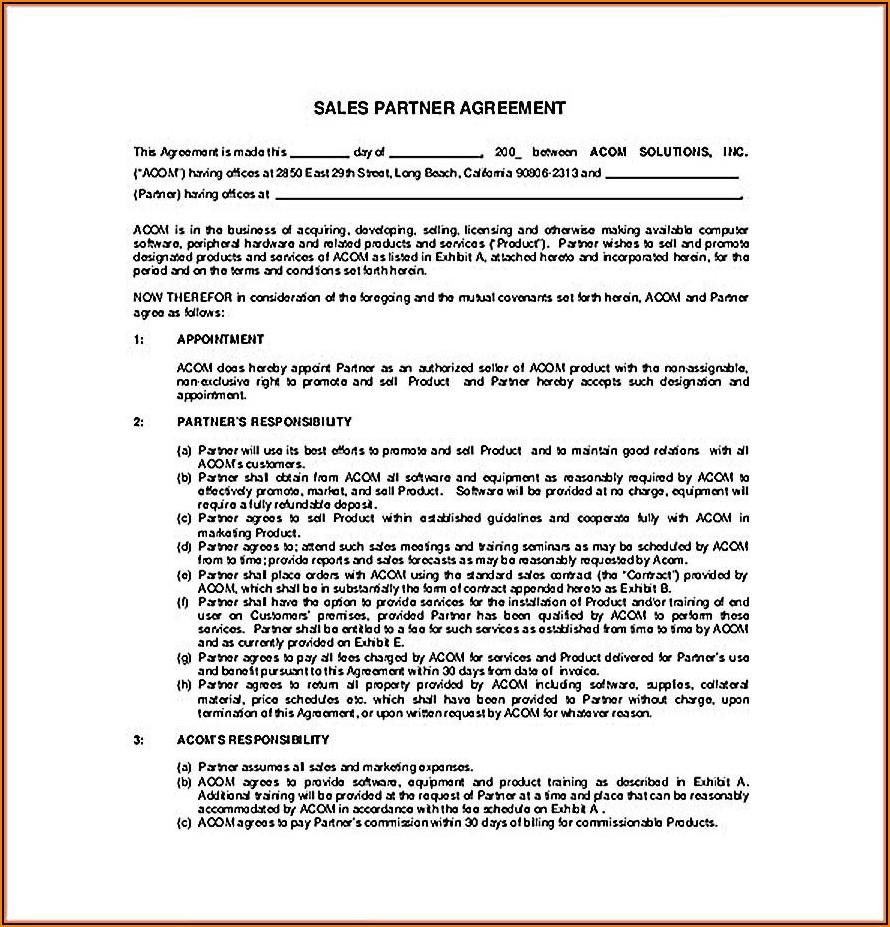 Partner Agreement Template Free