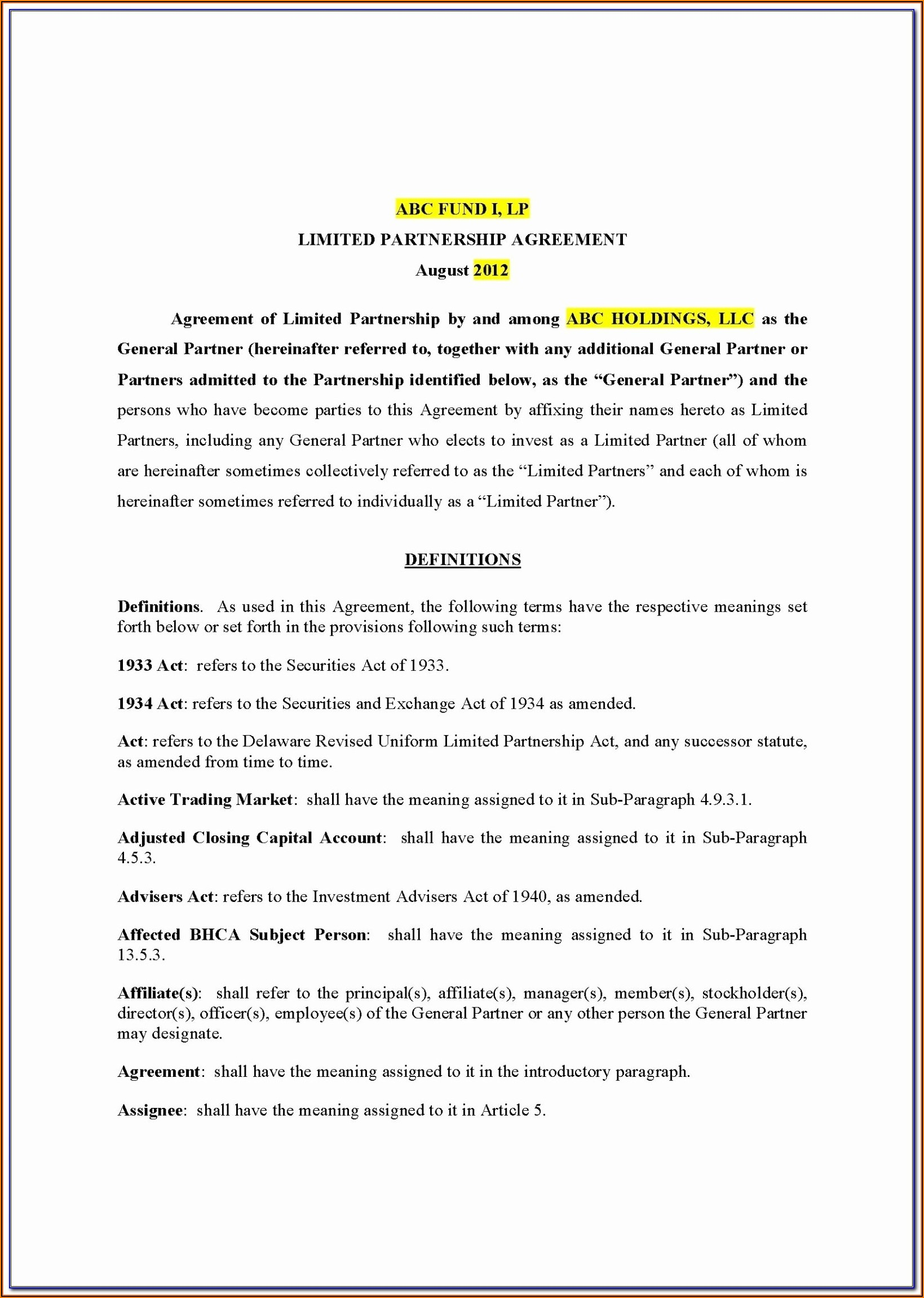 Partner Agreement Template India