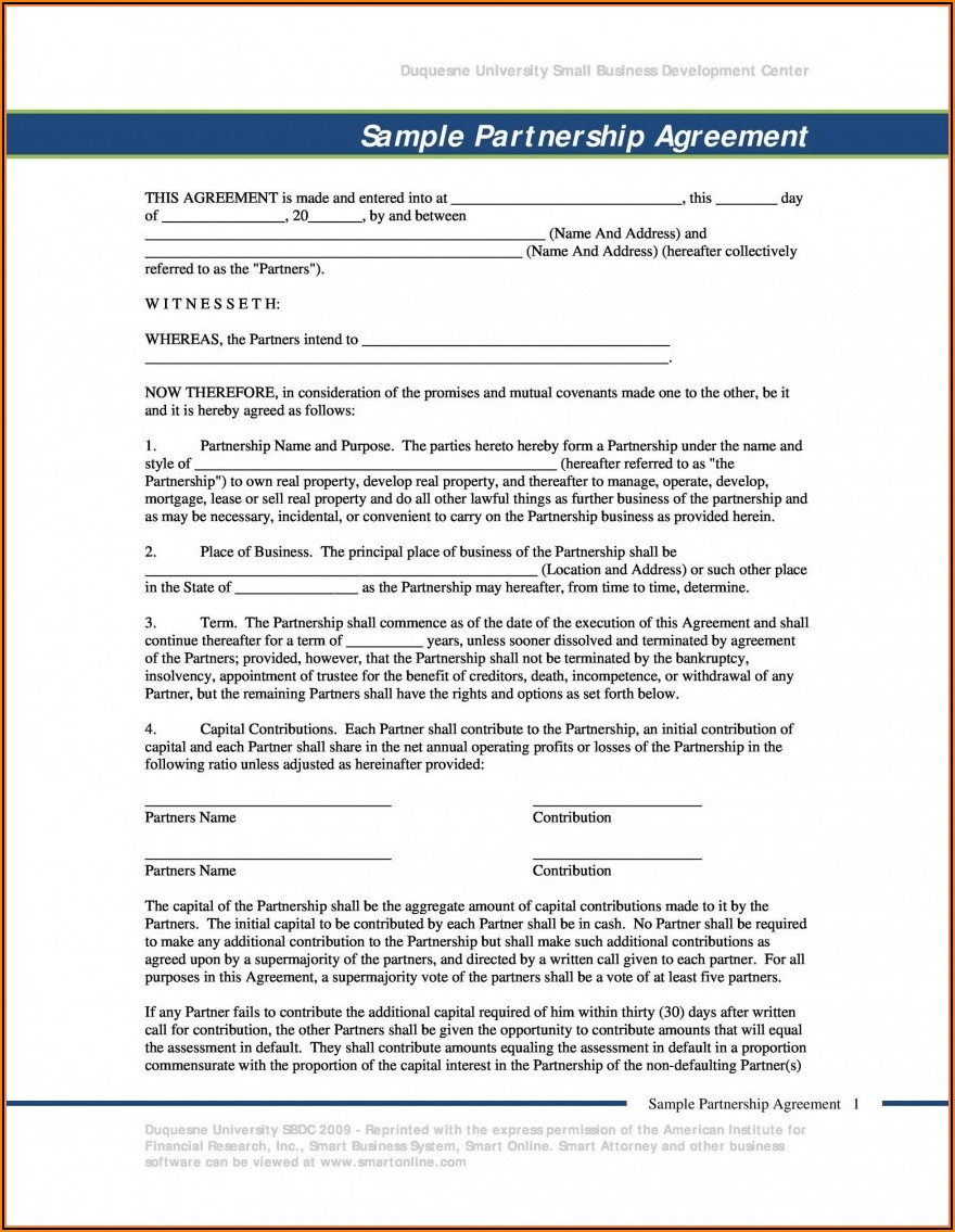 Partner Agreement Template Pdf