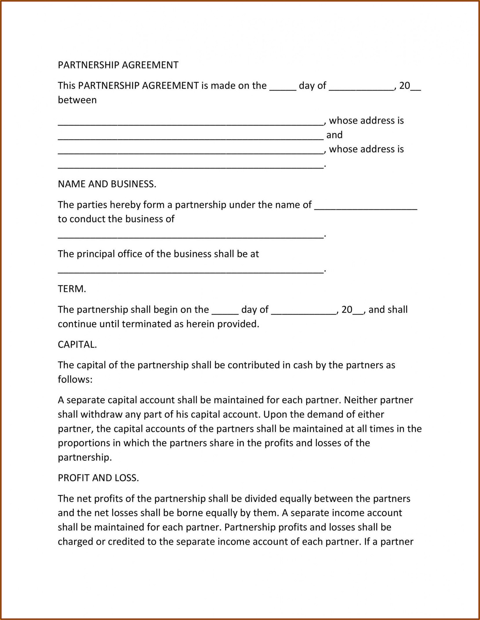 Partner Agreement Template