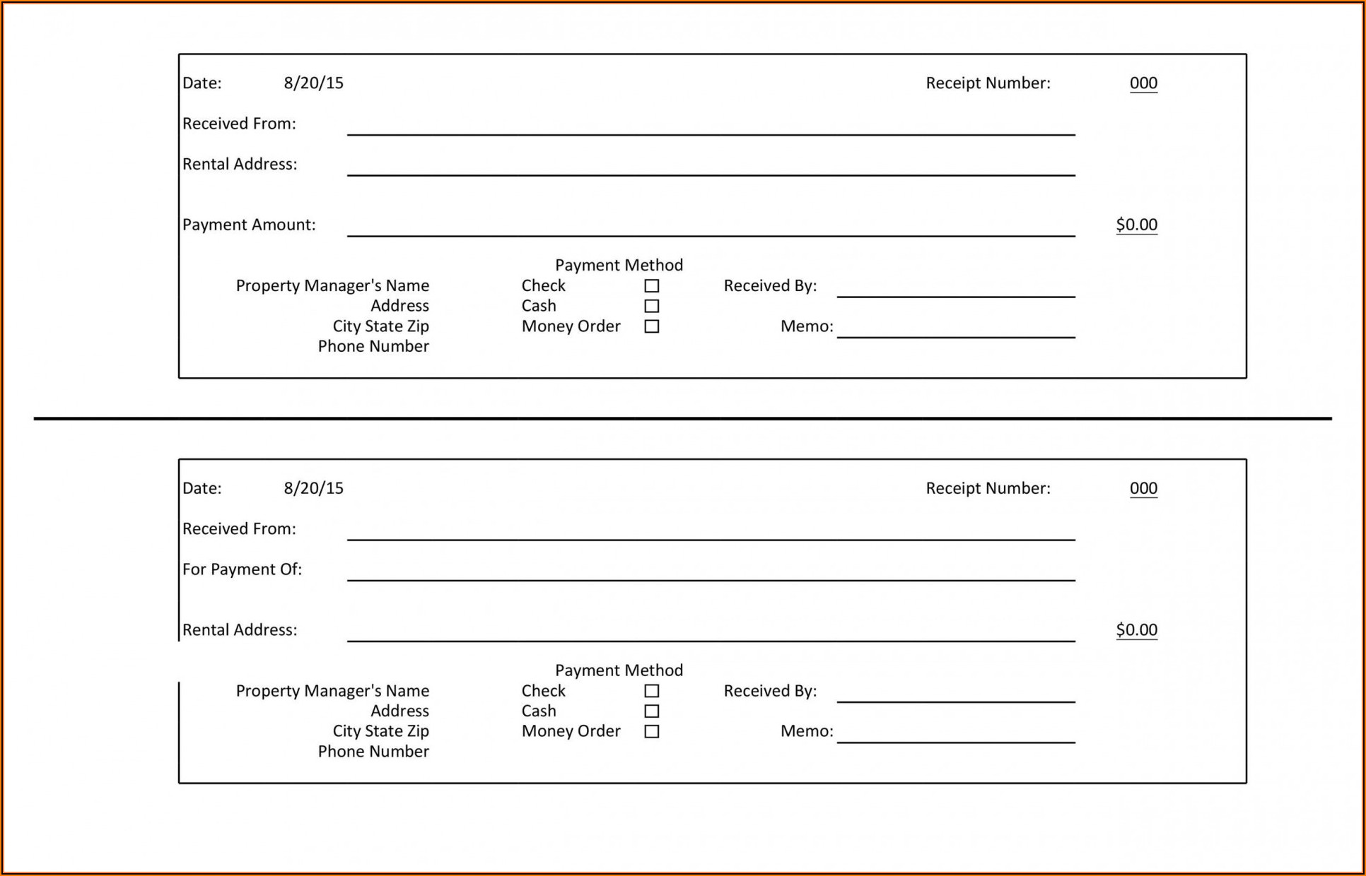 Payment Receipt Format In Excel Free Download