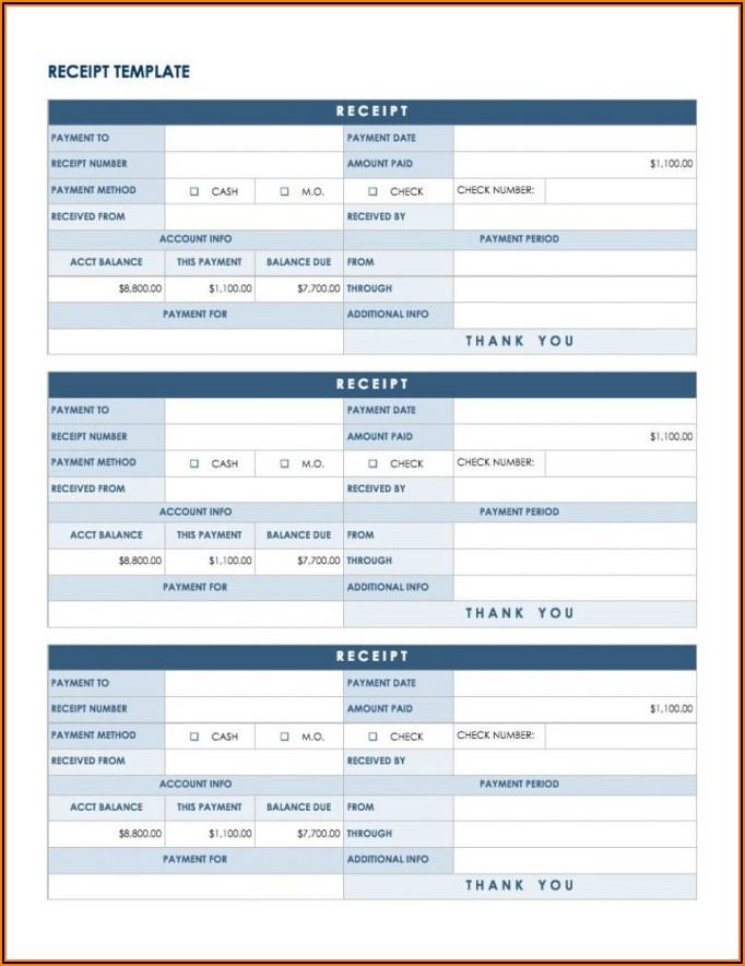 Payment Receipt Template Excel