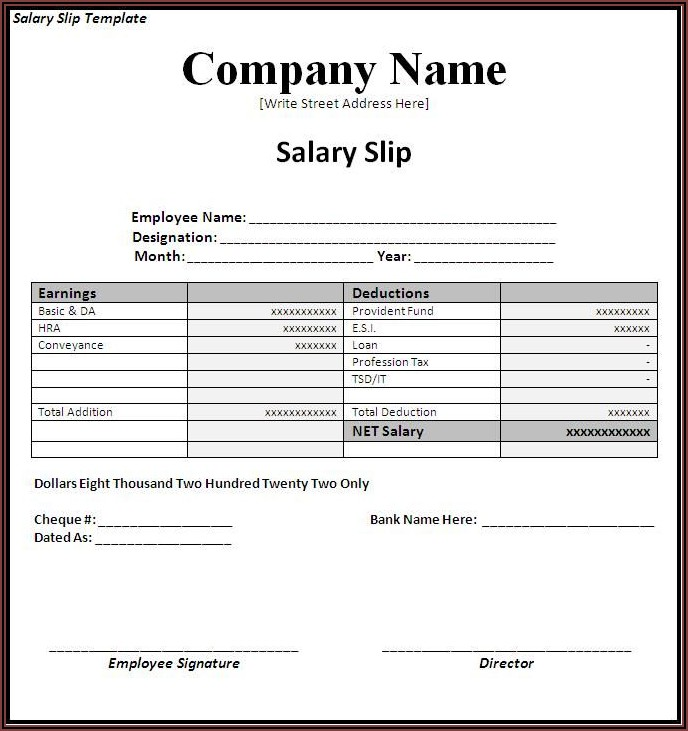 Payroll Invoice Template Word