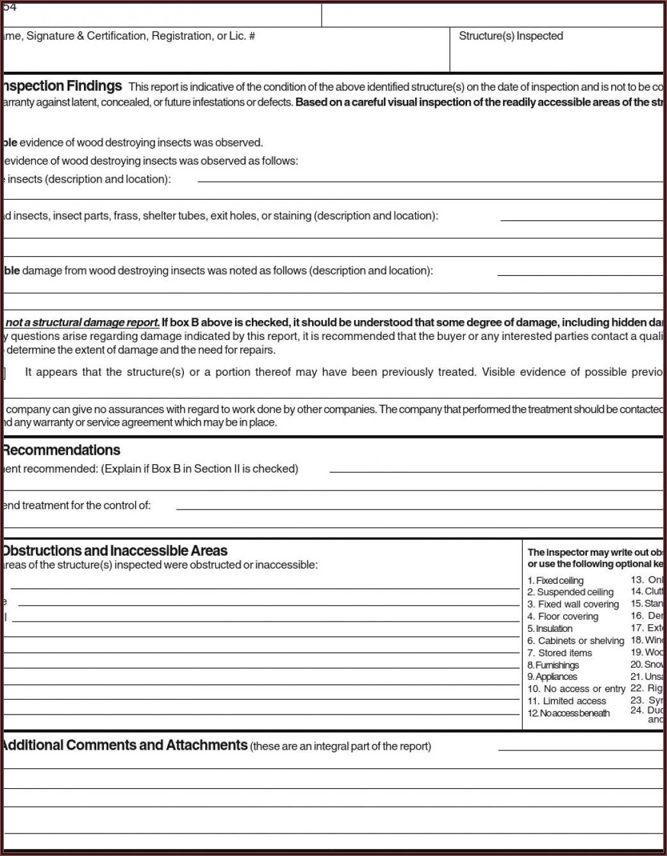 Pest Control Inspection Report Format