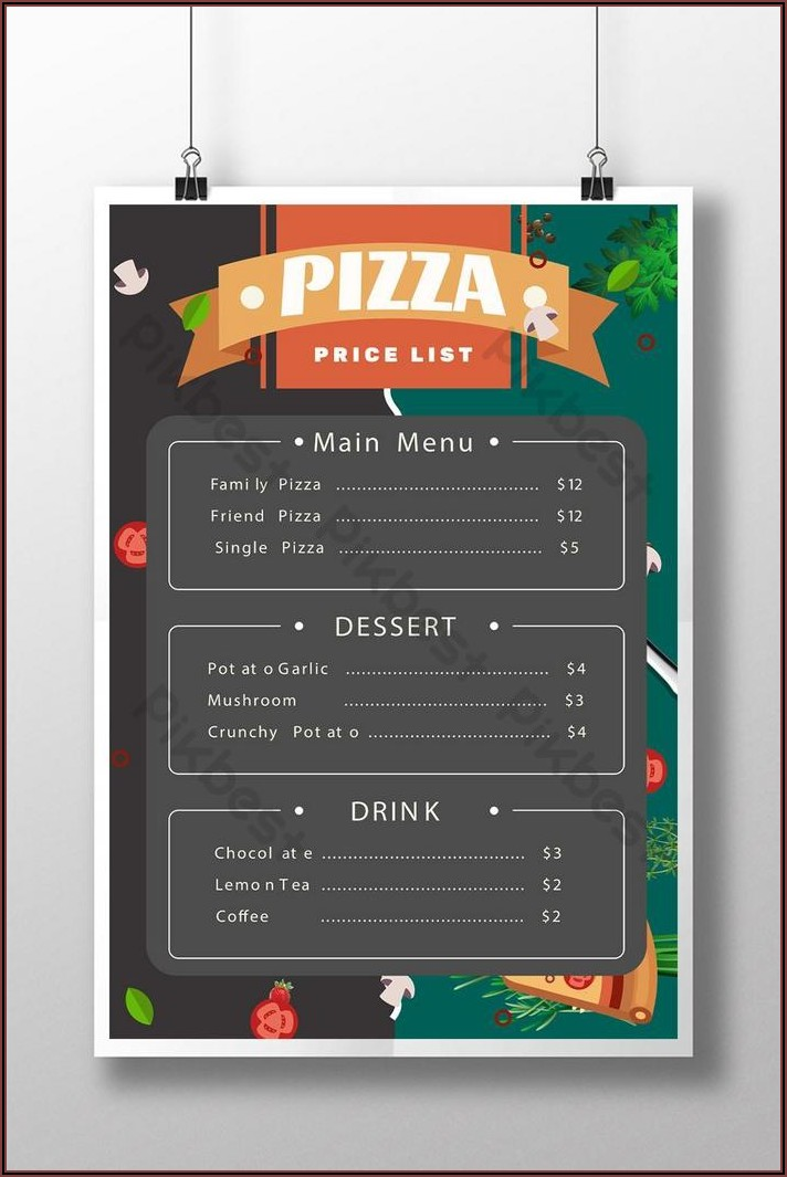 Pizza Menu Template Psd Free