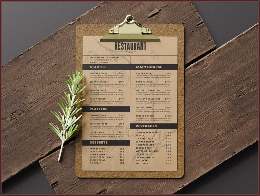 Pizza Menu Templates Design Free