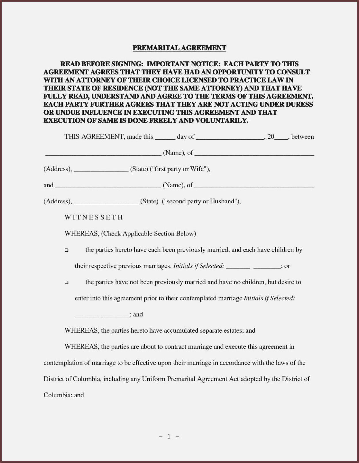 Prenuptial Agreement Template Word Uk