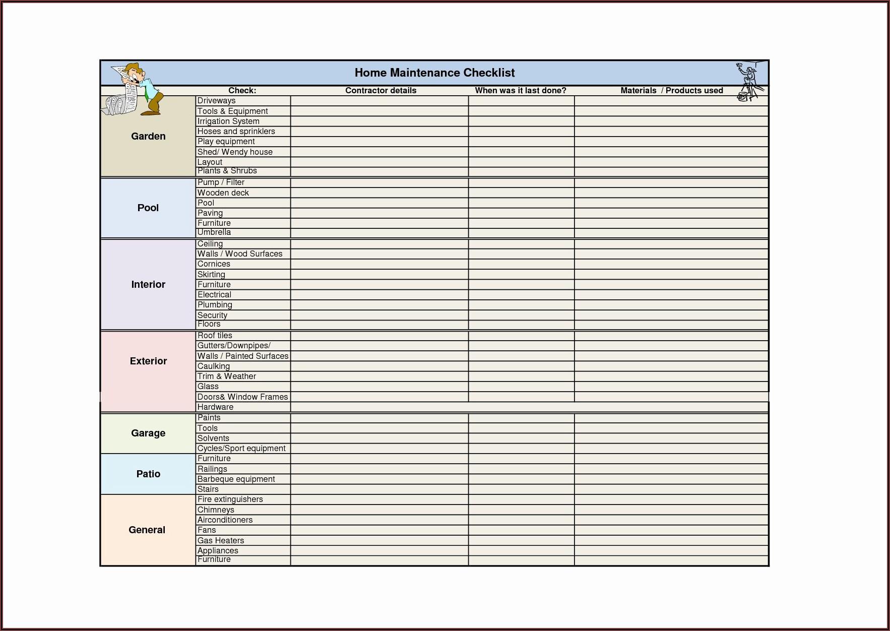 Preventive Maintenance Plan Template Excel