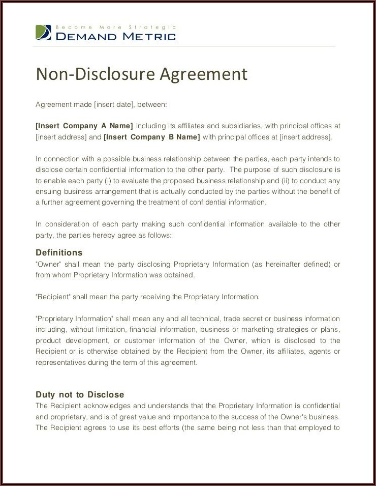 Printable Non Disclosure Agreement Form