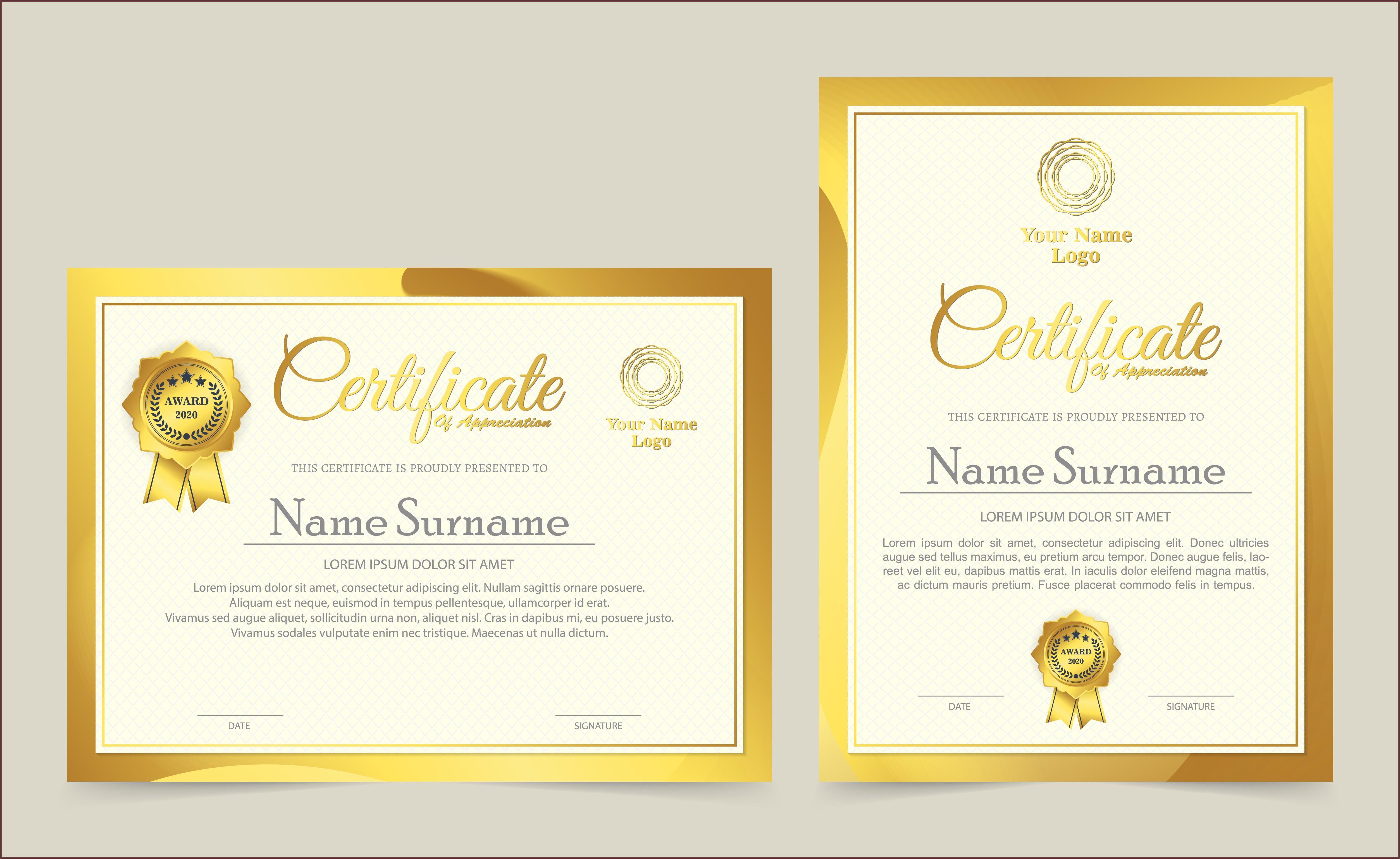 Professional Award Certificate Templates Free
