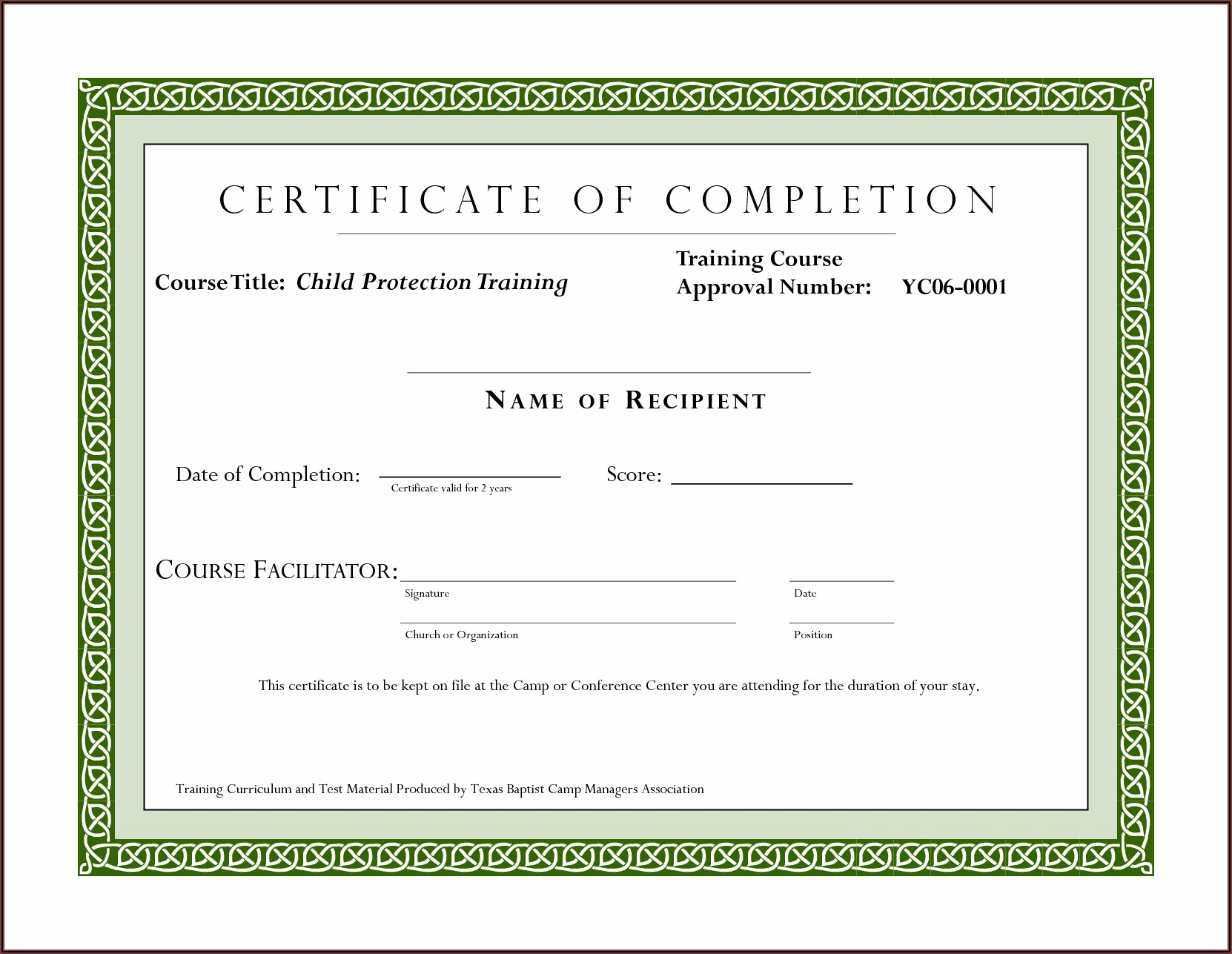 Professional Training Certificate Templates
