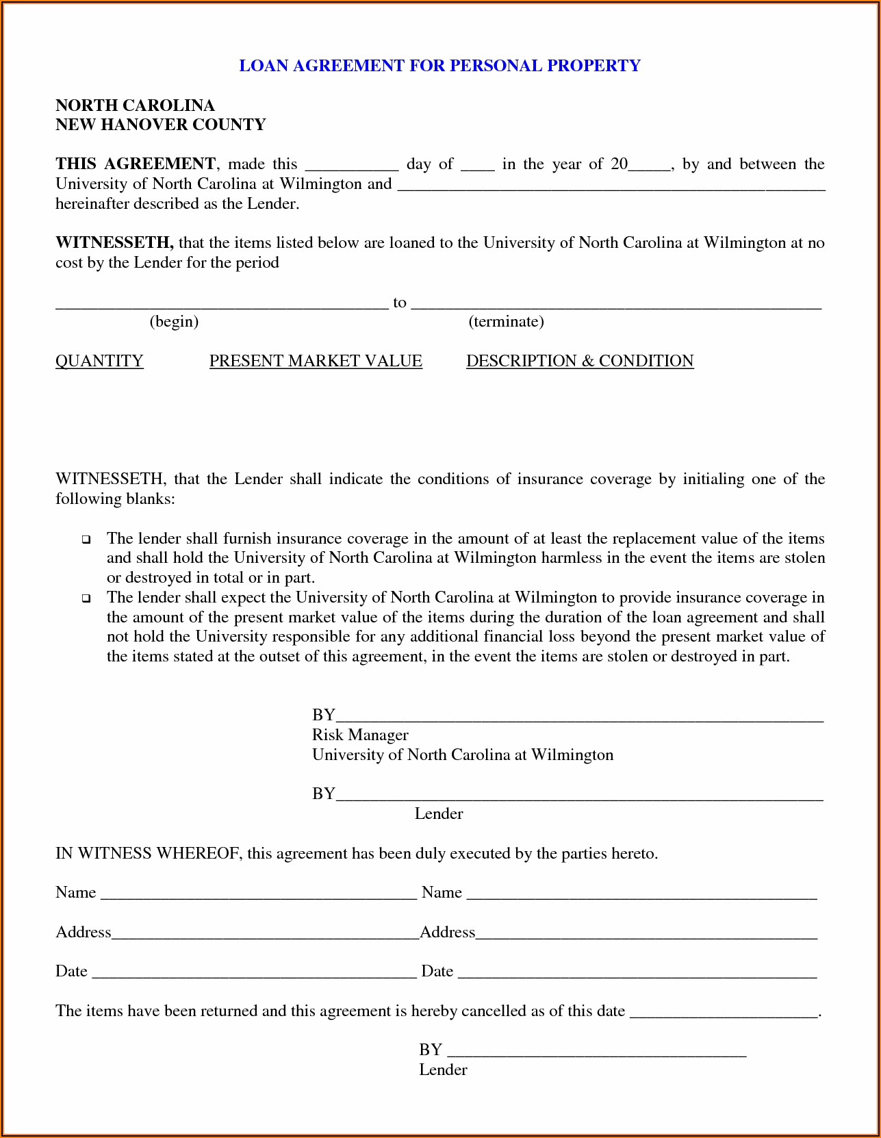 Promissory Note Template For Car Loan