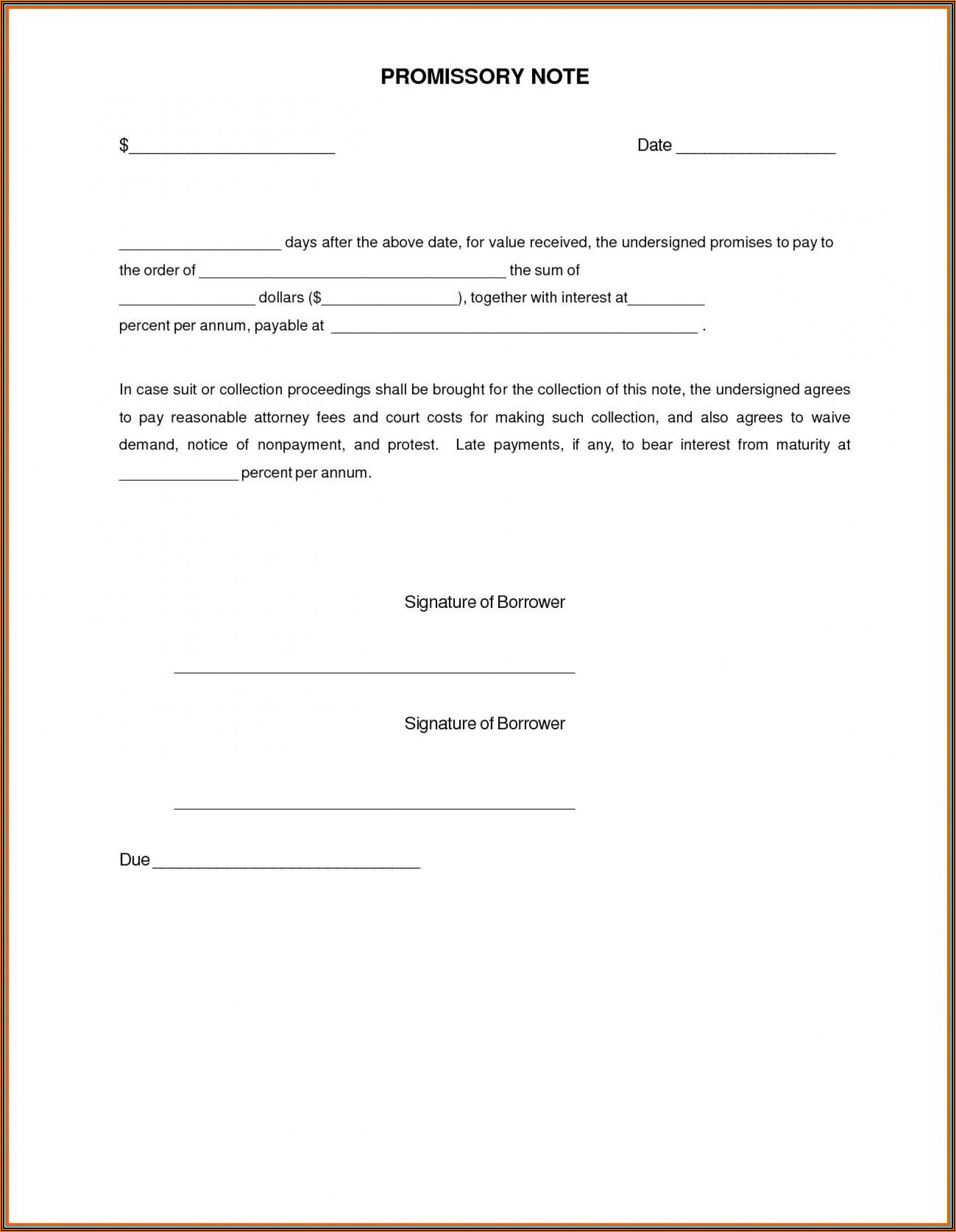 Promissory Note Template Word Document Uk