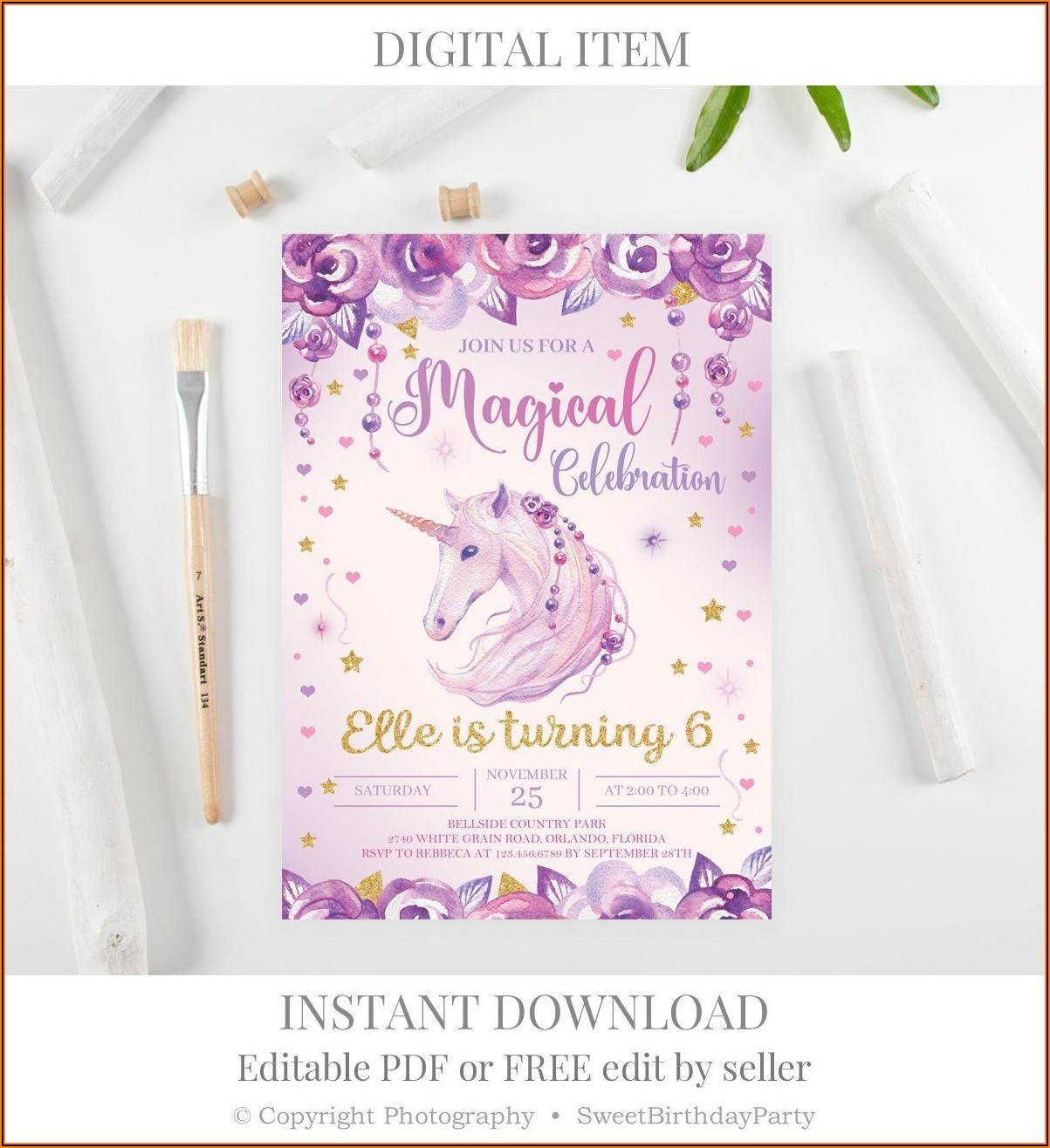 Purple And Gold Birthday Invitation Template
