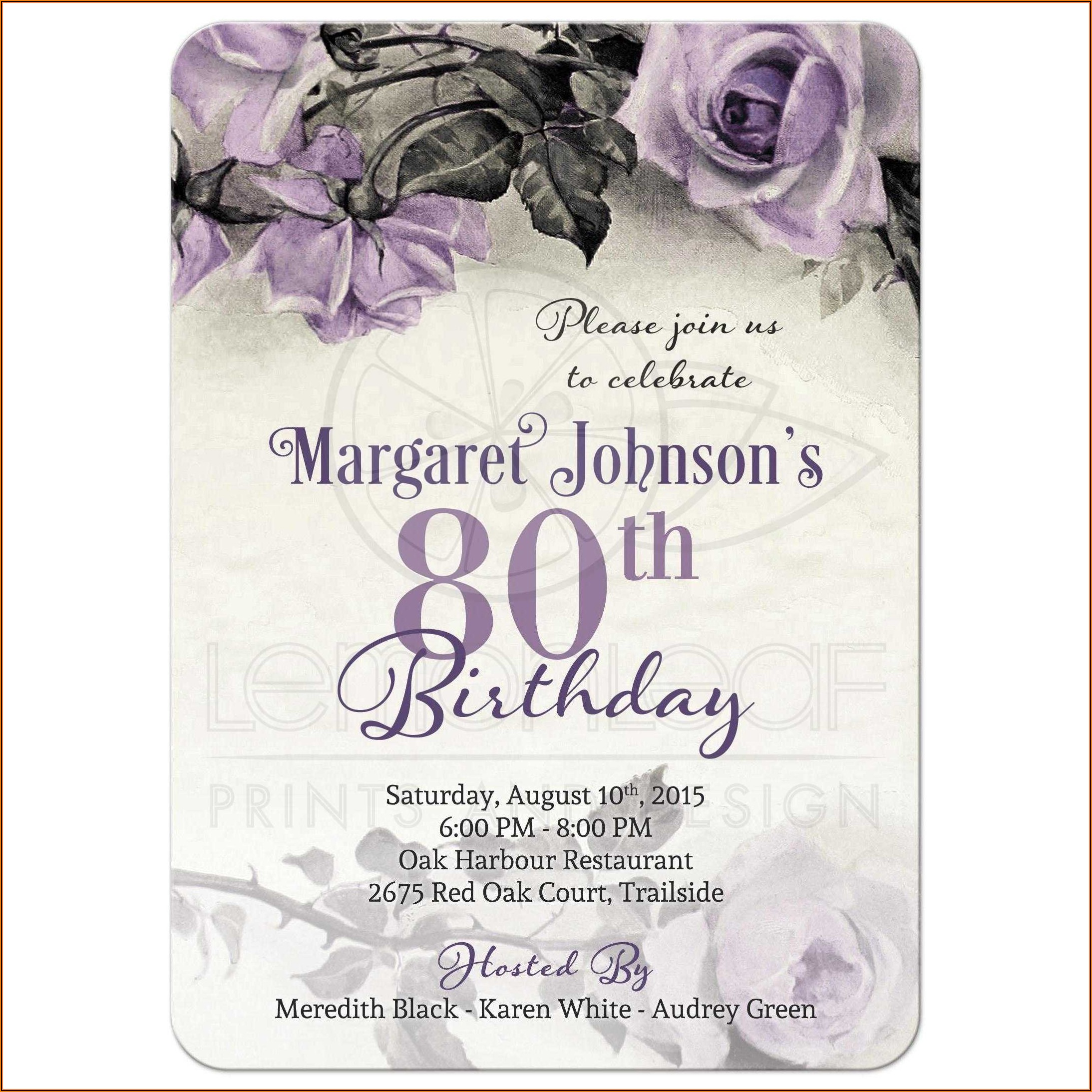Purple And Silver Birthday Invitation Template