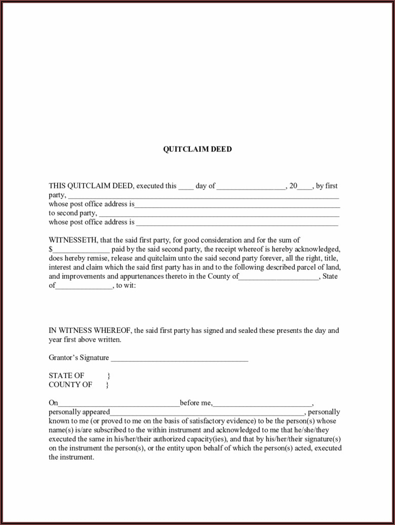 Quitclaim Deed Template Arkansas