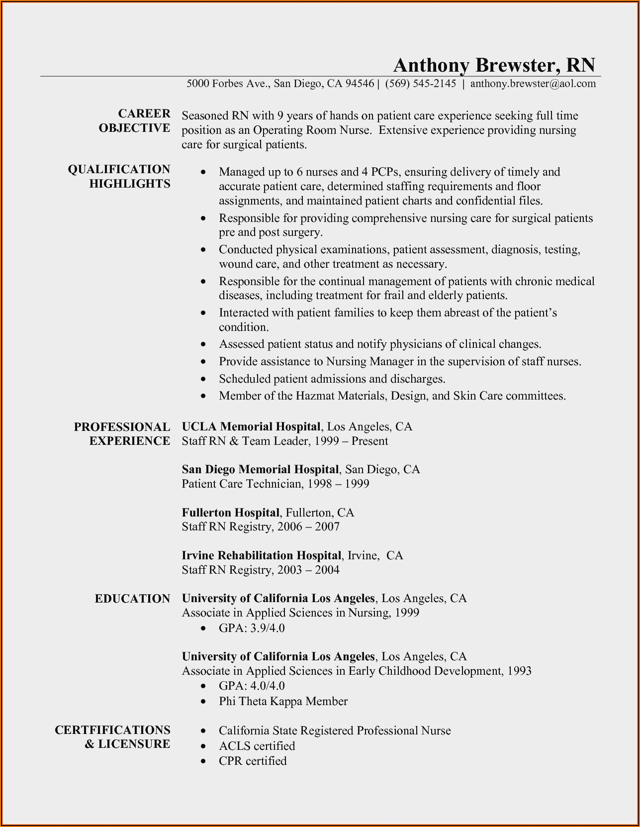 Resume Templates For Lpn Nurses