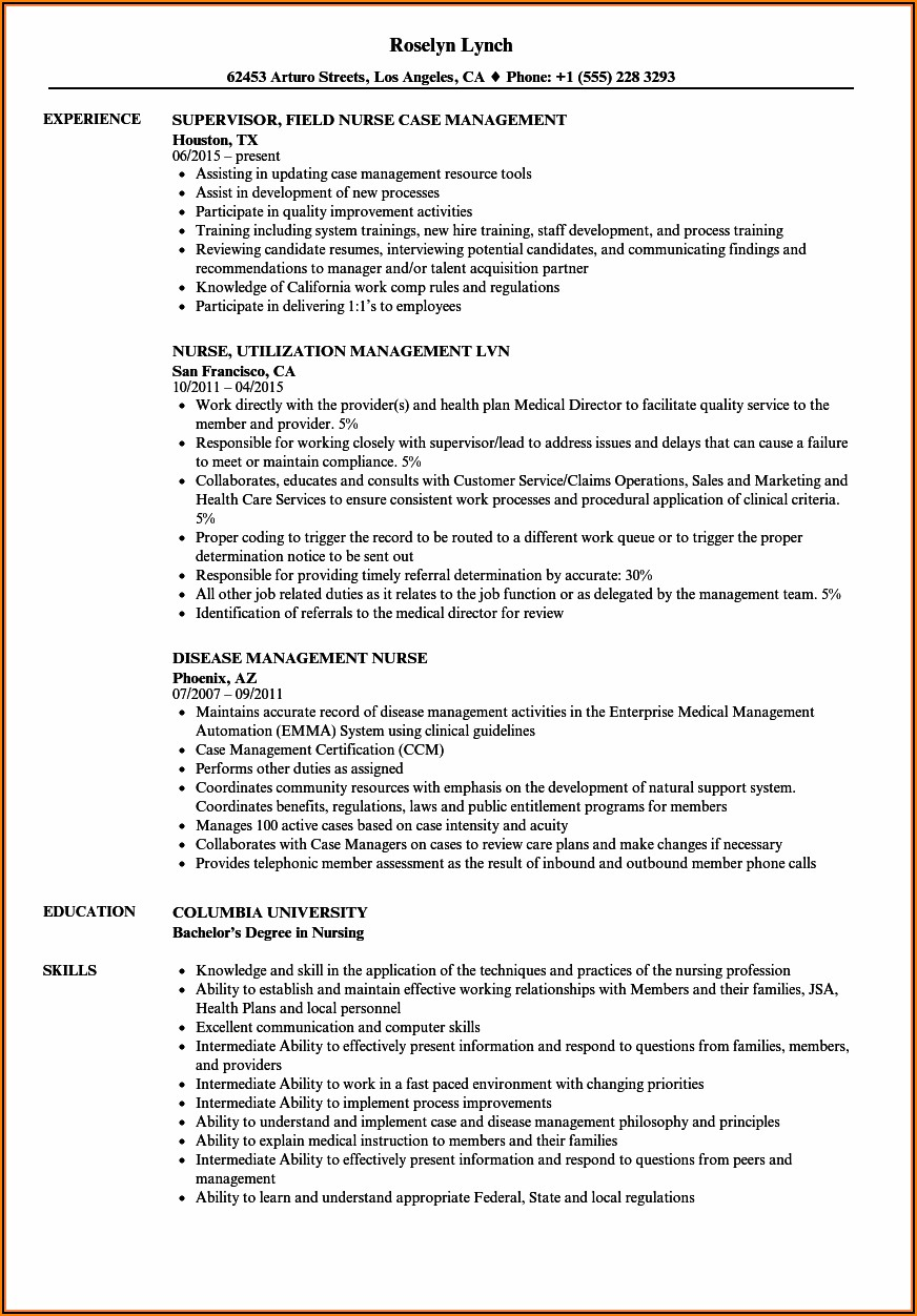 Resume Templates For Nurse Managers