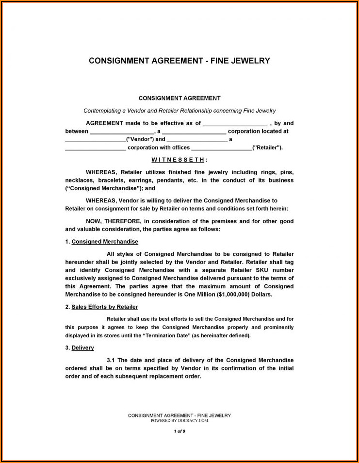Retail Consignment Agreement Template Free
