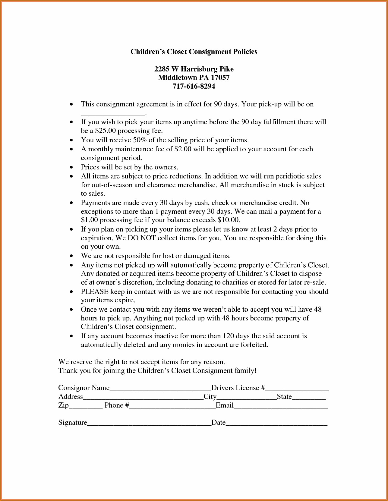 Retail Consignment Agreement Template