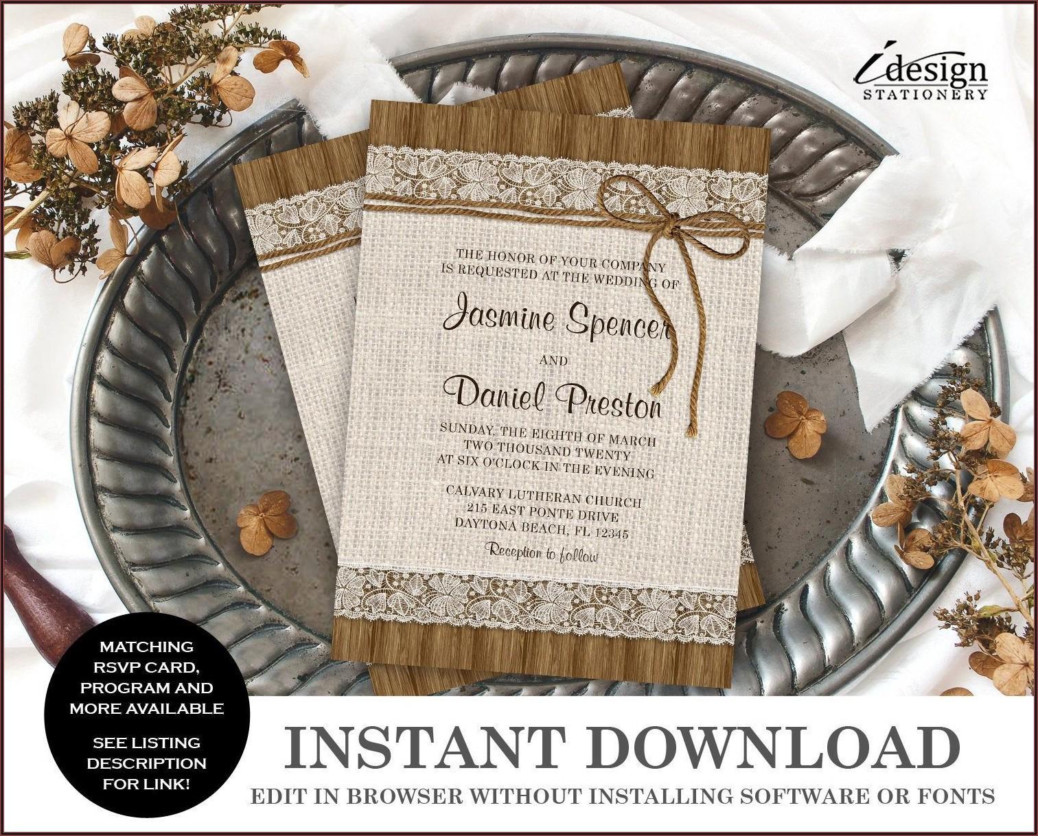 Rustic Wedding Invitation Templates Download