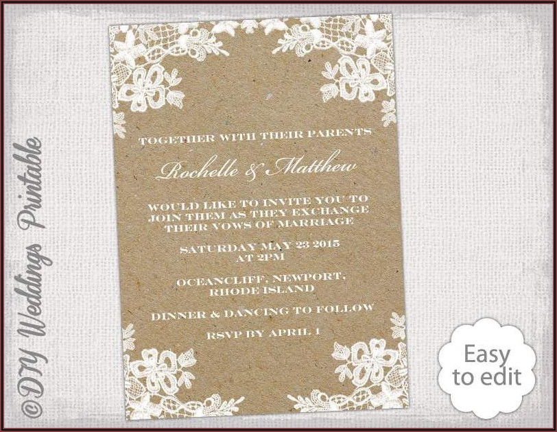 Rustic Wedding Invitation Templates Photoshop