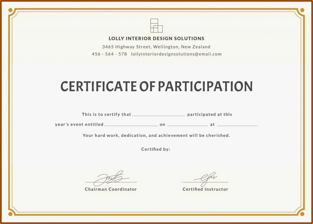 Sample Certificate Of Award Wording