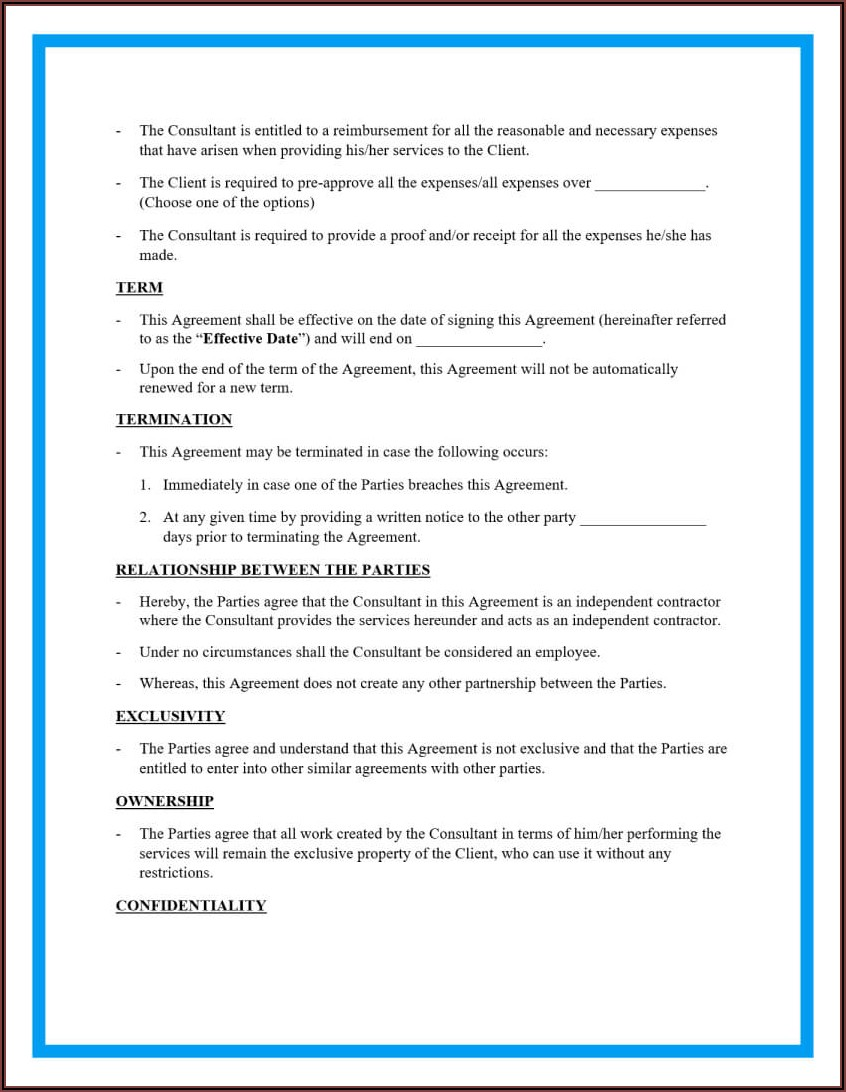 Simple Consulting Agreement Template Word