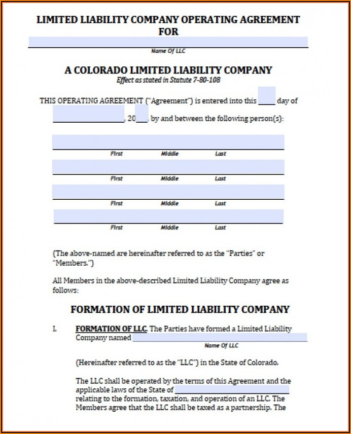 Single Member Llc Operating Agreement Colorado Template