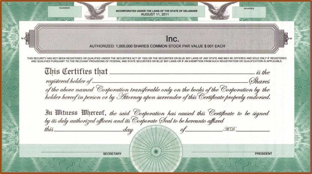 Stock Certificate Template Delaware