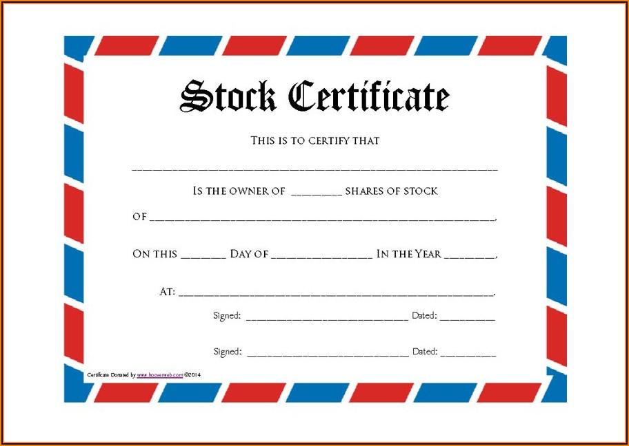 Stock Certificate Template Doc