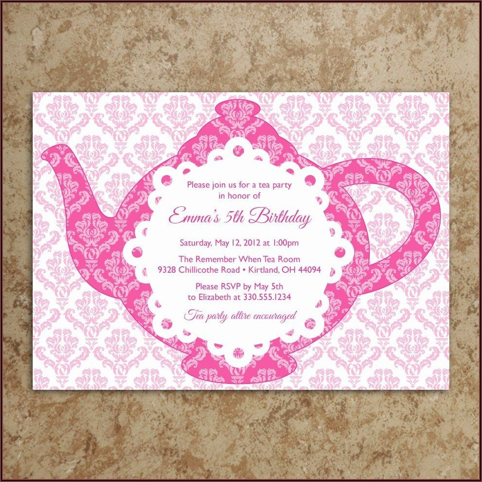 Tea Party Invitation Template Pdf