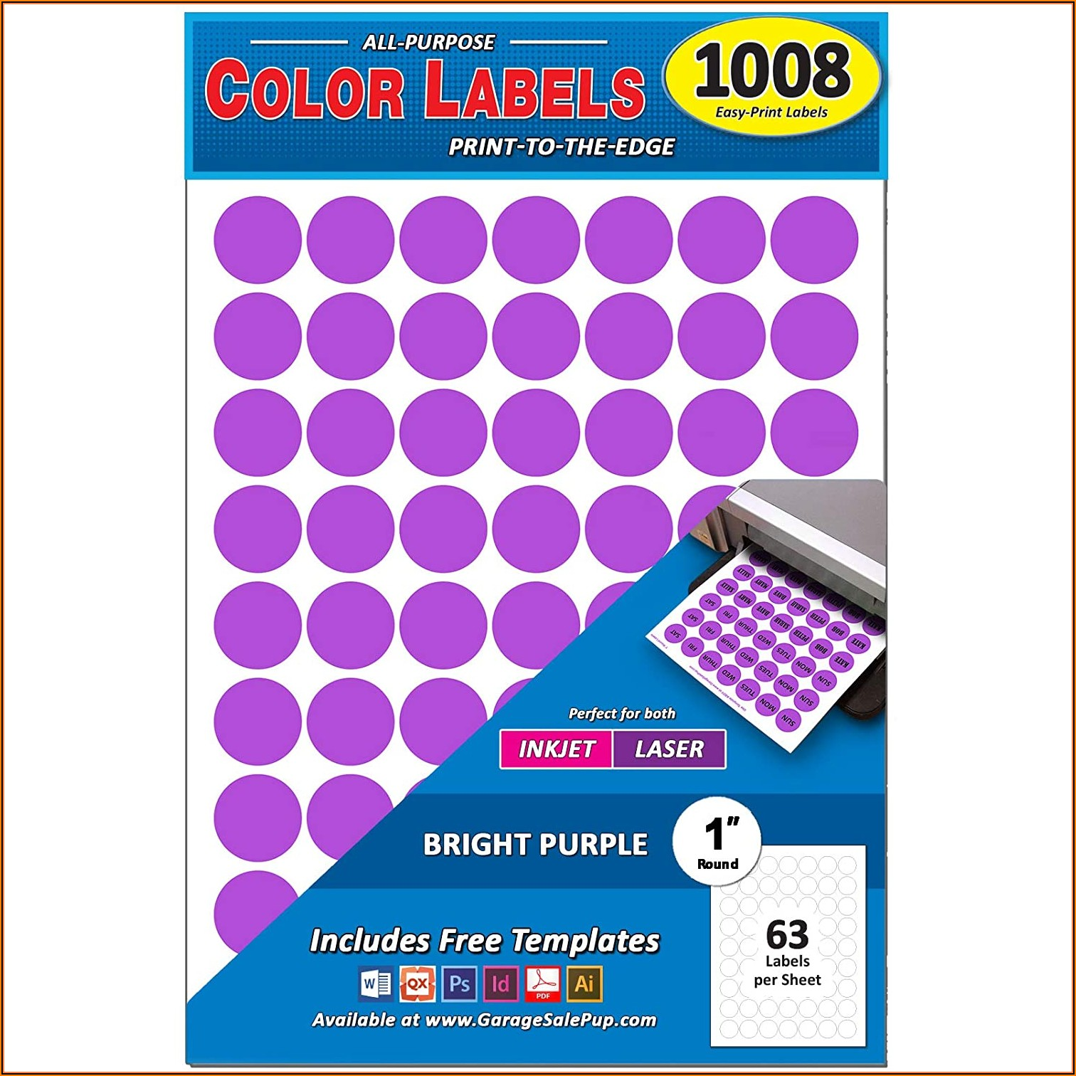 Template For 1 Round Labels 63 Per Sheet