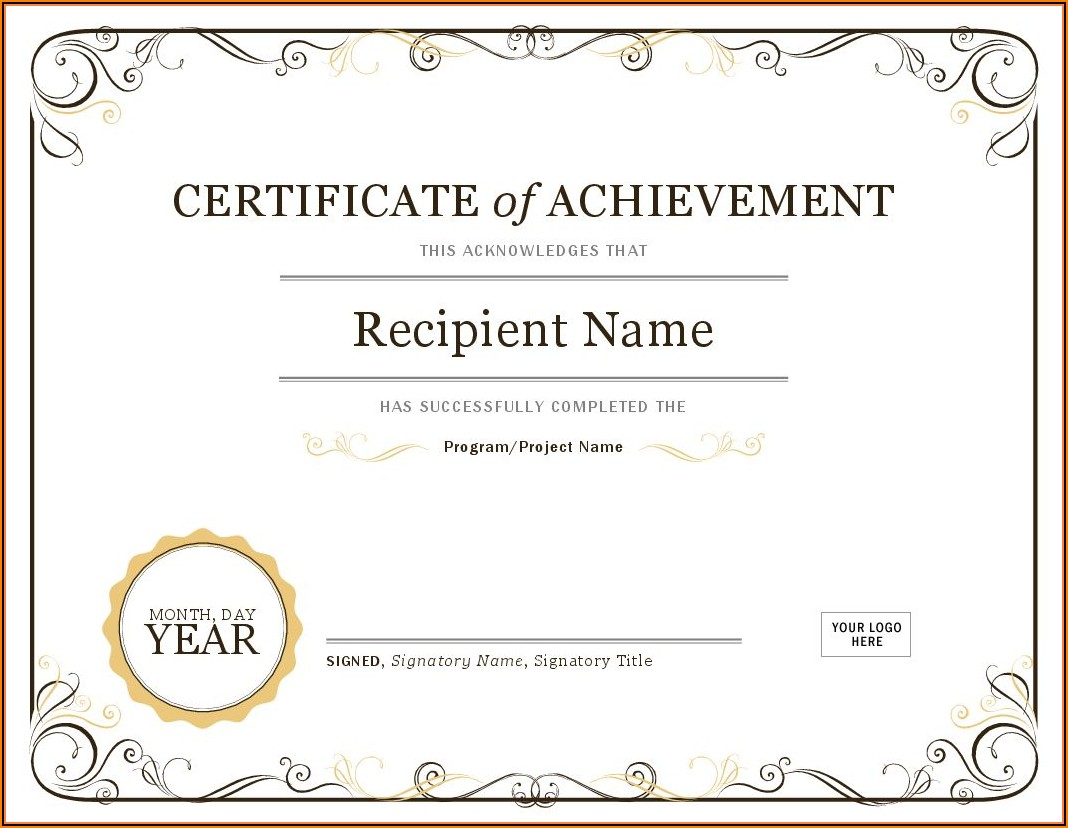 Template For Certificate Awards