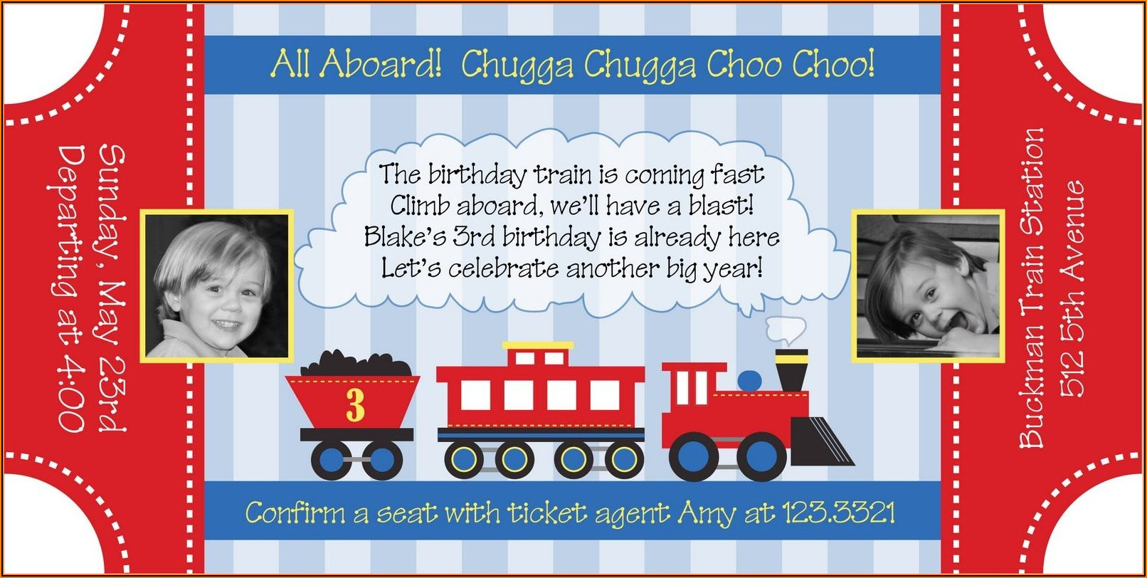 Train Ticket Party Invitation Template