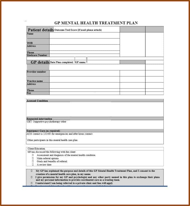 Treatment Plan Templates For Mental Health