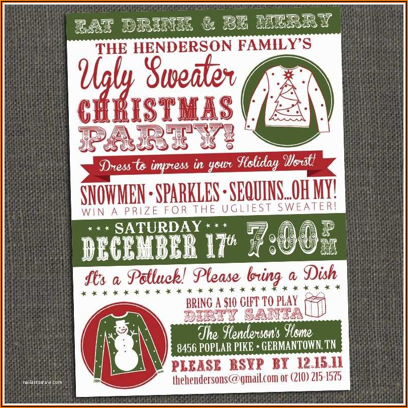 Ugly Christmas Sweater Invitation Template Free