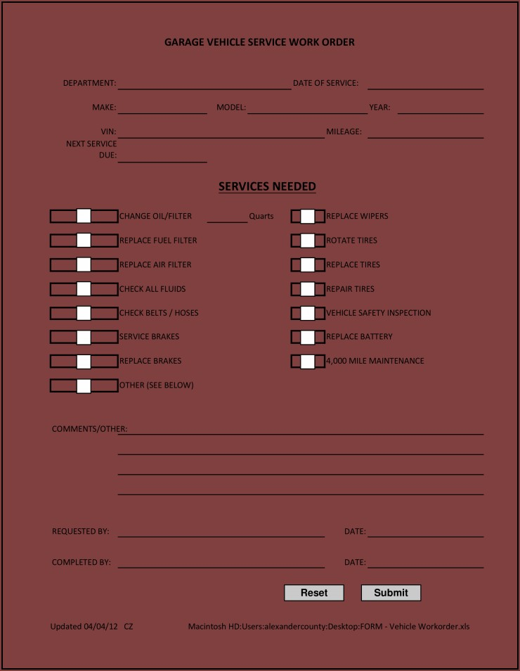 Vehicle Work Order Form Template