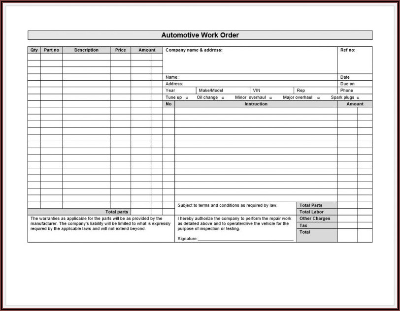 Vehicle Work Order Template