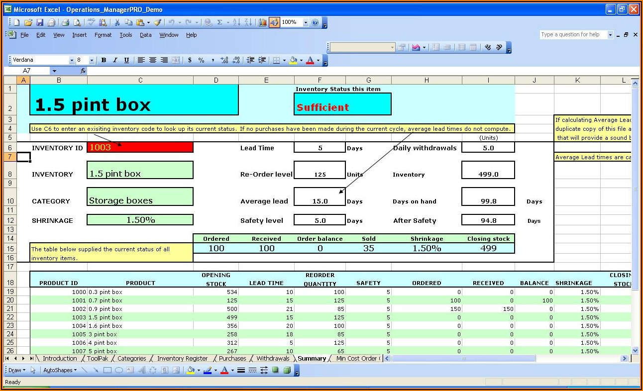 Warehouse Management Template Excel