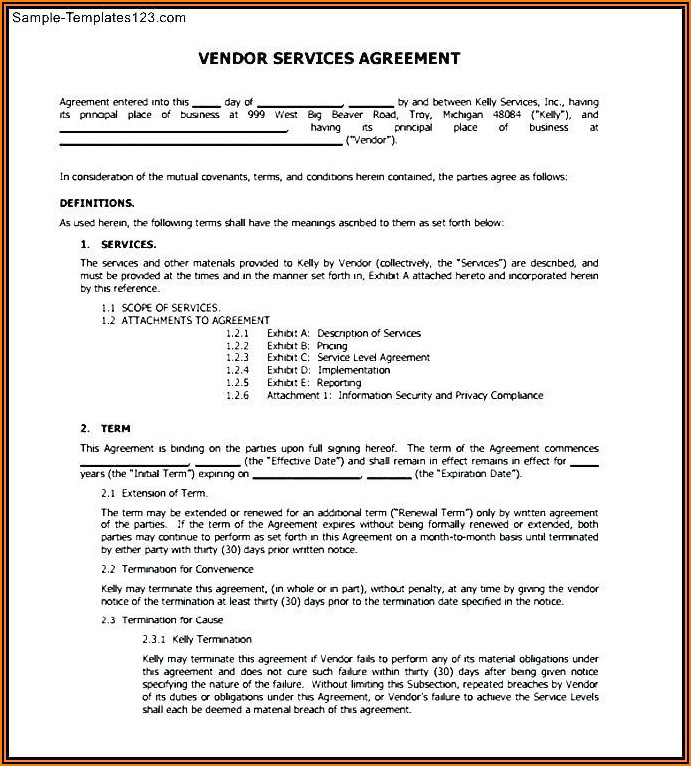Warehouse Service Agreement Template