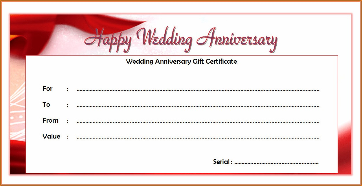 Wedding Anniversary Certificate Template Free