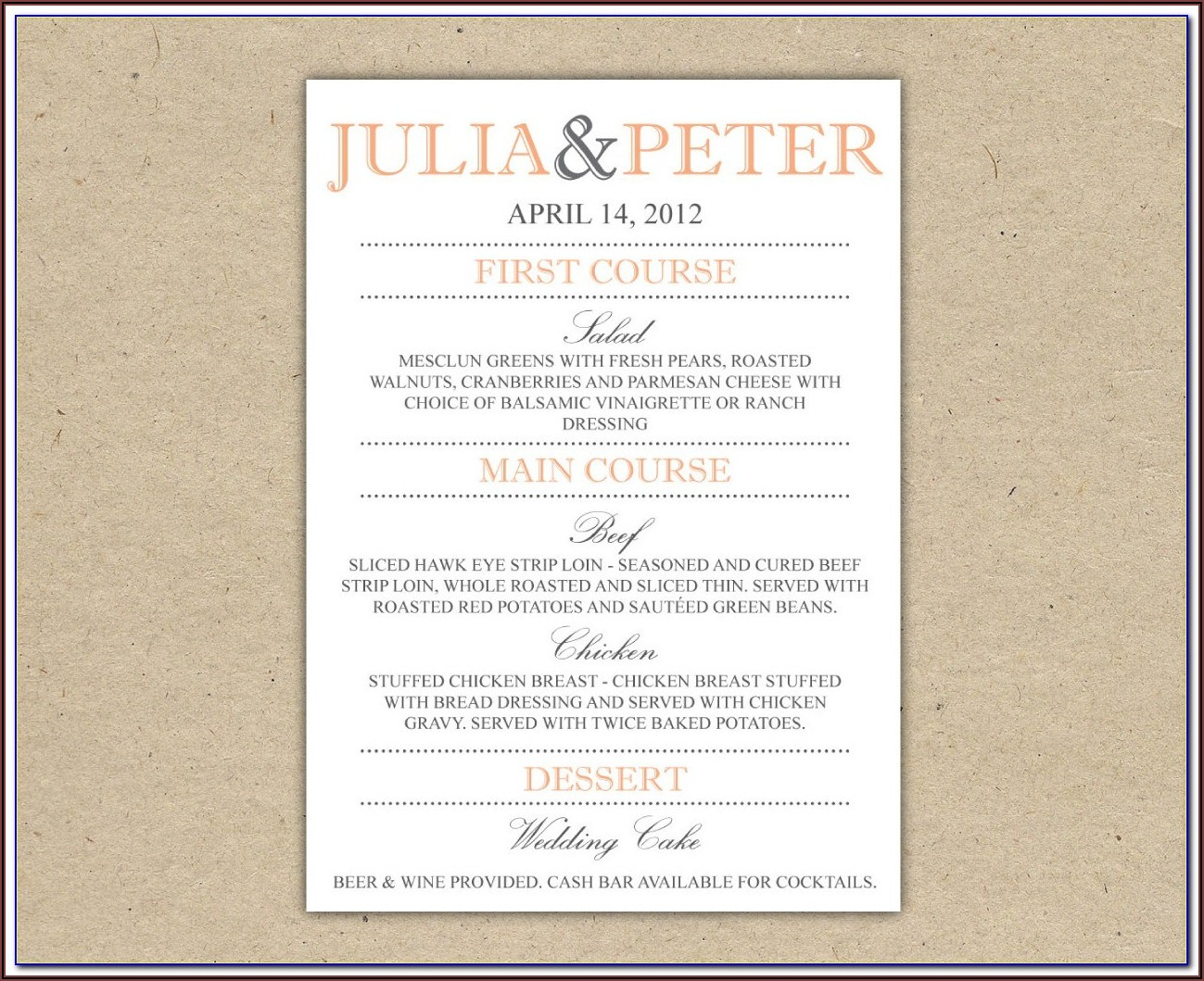 Wedding Reception Dinner Menu Templates