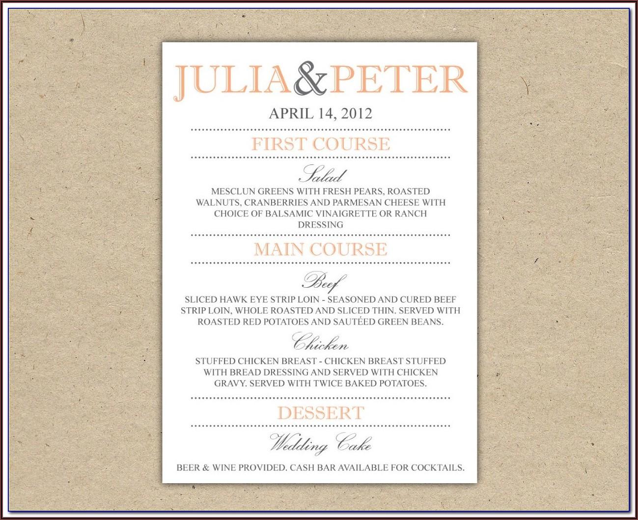 Wedding Reception Dinner Menu Templates