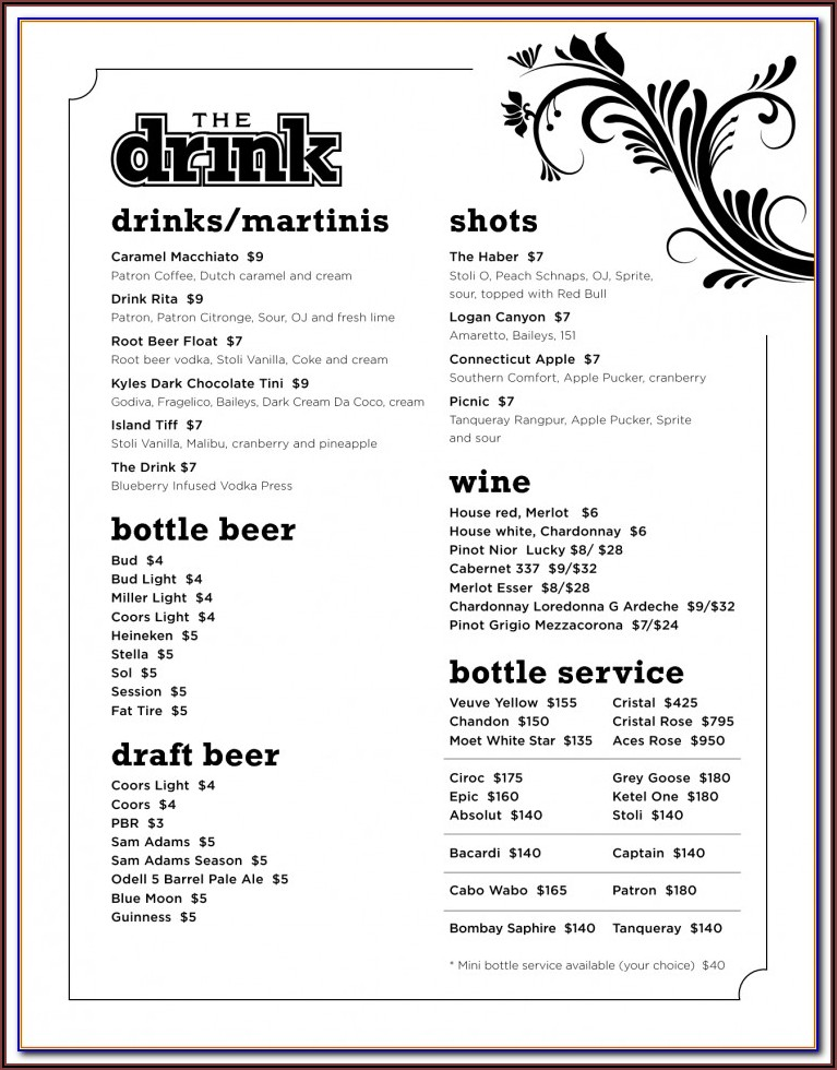 Wedding Reception Drink Menu Template