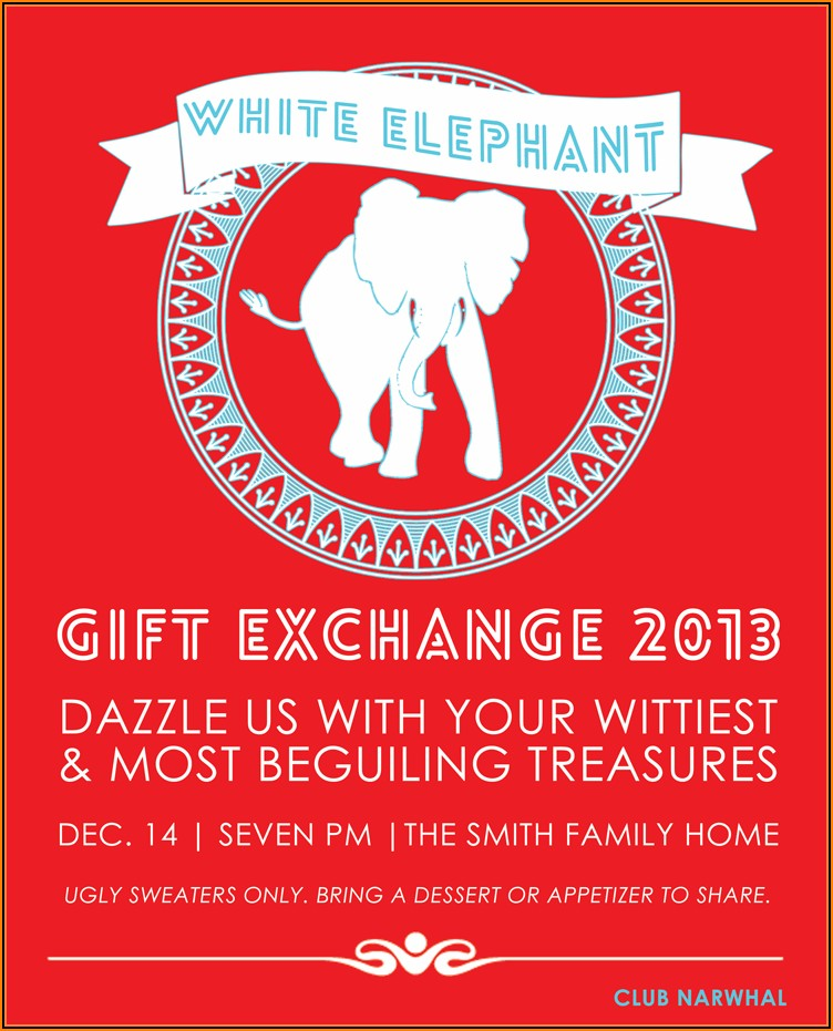 White Elephant Christmas Party Invitations Templates