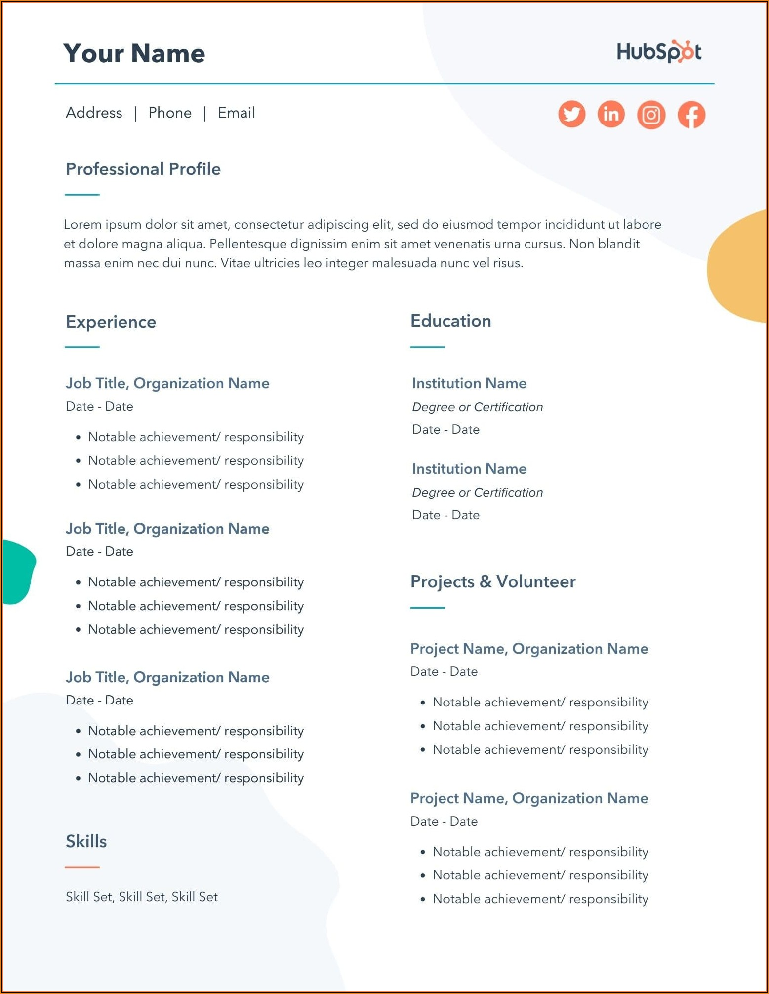 Word Templates For Resume