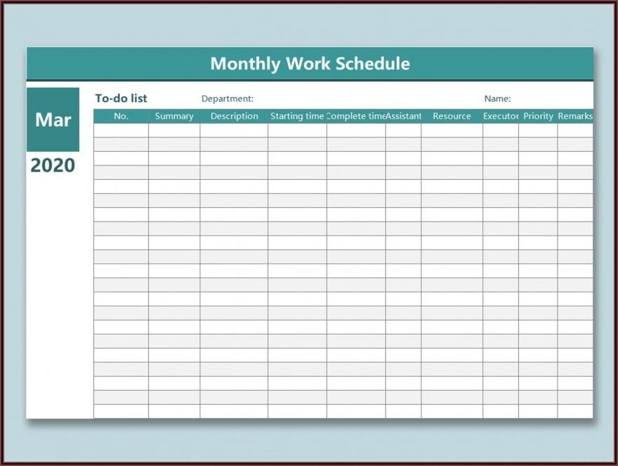 Work Plan Calendar Template 2018